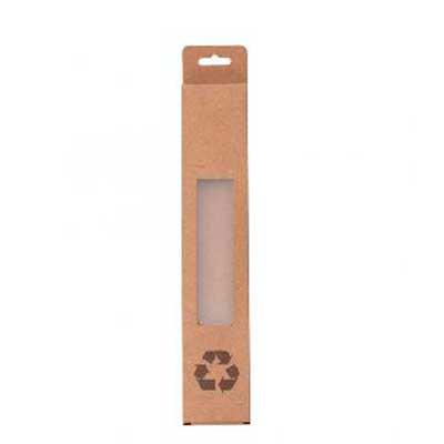 Yama Brindes Corporativos - CAIXA PARA CANUDO KRAFT Descrição: Embalagem kraft para canudos, possui visor plástico e símbolo reciclável na parte frontal.  Altura :  23,2 cm Largu...