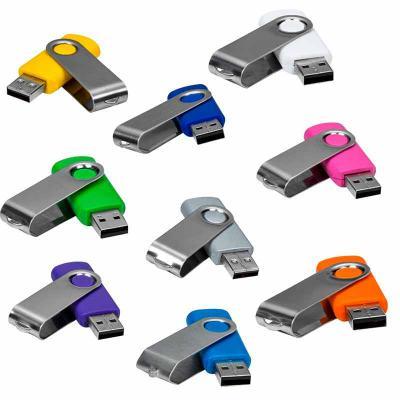 """Mare Brindes e Presentes Personalizados - Pen drive de metal giratório 4GB/8GB, parte interna preta em plástico resistente. Possui uma """"argola"""" na parte em metal que poderá ser utilizado para..."""