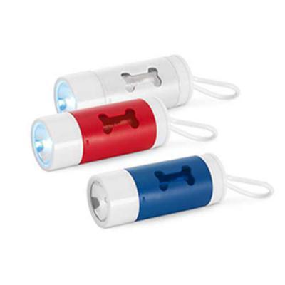 Gis Mascotes e Brindes Corporativos Personalizados - Kit de higiene para cachorro. ABS. Com LED, mosquetão e 10 sacos plástico. Incluso 3 pilhas LR1130. Porta-saco: ø40 x 100 mm | Sacos plástico: 275 x 2...