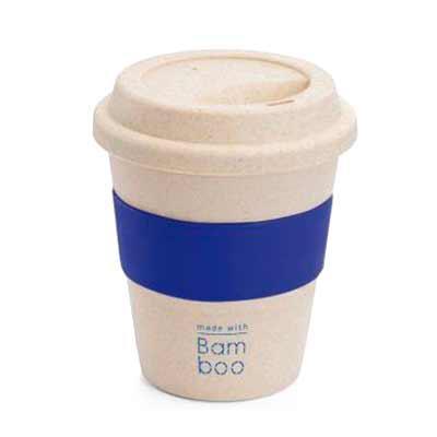 Brindes SM Corporativos - Copo de viagem. Fibra de bambu e PP. Com banda em silicone. Capacidade: 380 ml. Food grade. Ø95 x 114 mm