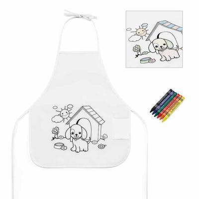 Inbox Brindes - Avental de criança para colorir. Non-woven: 80 g/m². Com desenho impresso e bolso lateral. 6 gizes de cera inclusos. 380 x 430 mm