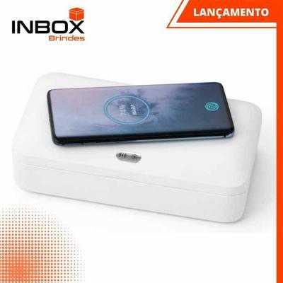Inbox Brindes - Caixa esterilizadora UV com carregador wireless Fast