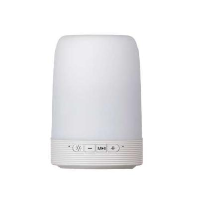Inbox Brindes - Caixa de som multimídia com luzes, suporte para celular e porta caneta. Material plástico resistente na cor branca fosca, parte superior com falante v...
