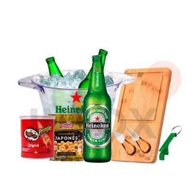 Inbox Brindes - Balde de gelo, três cervejas, tábua de queijos, batata pringles, amendoim japonês e abridor de garrafa