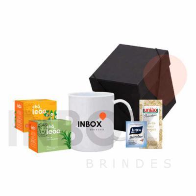 Inbox Brindes - Caneca, caixa de presente, duas caixas de chá, sachê de açucar e adoçante