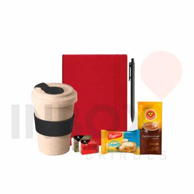 Inbox Brindes - Caderneta, caneta, copo de viagem, sachê de capuccino, torradas, geleia e manteiga