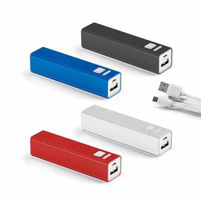 Inbox Brindes - Bateria portátil. Alumínio. Bateria de lítio. Capacidade: 2.600 mAh. Tempo de vida = 500 ciclos. Com entrada/saída 5V/1A. Incluso cabo USB/micro USB p...