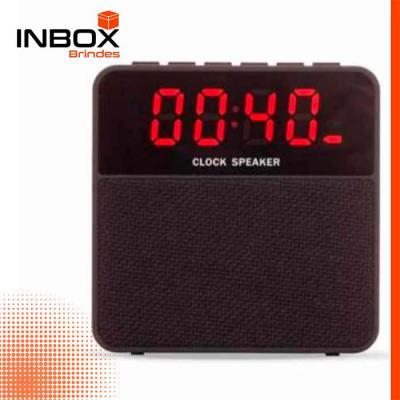 Inbox Brindes - Caixa de som multimídia com relógio digital