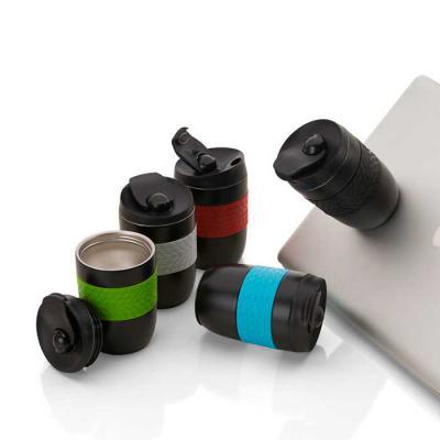 Inbox Brindes - Caneca antiqueda em aço inox parede dupla, conserva temperatura, pegador em silicone e bico com tampa. Capacidade 260ml.