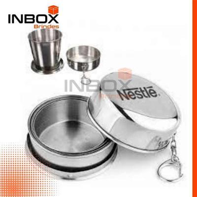 Inbox Brindes - Copo de Aço Inox Retrátil