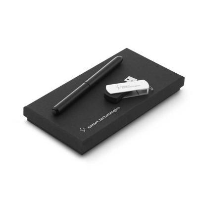 Inbox Brindes - Conjunto esferográfica e pen drive. Esferográfica NEO em alumínio com ponteira touch em silicone. Pen drive em ABS com clipe em alumínio. Capacidade:...