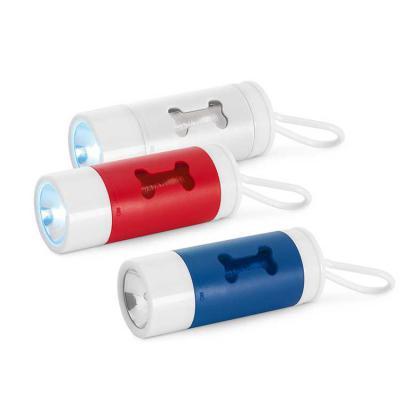 Inbox Brindes - Kit de higiene para cachorro. ABS. Com LED, mosquetão e 10 sacos plástico. Incluso 3 pilhas LR1130. Port Porta-Sacolas: ø40 x 100 mm   Sacolas: 265 x...