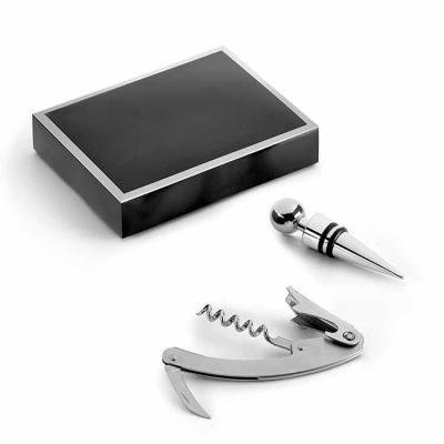 Inbox Brindes - Conjunto para vinho. Zinco. Saca-rolhas com canivete de sommelier e rolha. Fornecido em caixa presente. 103 x 133 x 28 mm