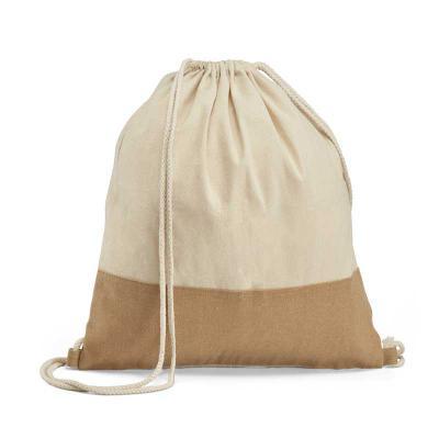 Inbox Brindes - Sacola tipo mochila. 100% algodão: 160 g/m². Detalhe em juta.