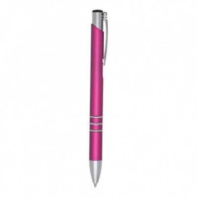 More Gifts - Caneta plástica rosa com detalhes em prata.  Ponta do acionador preto e clip metal, possui 3 anéis inferiores.  Aciona por clique.