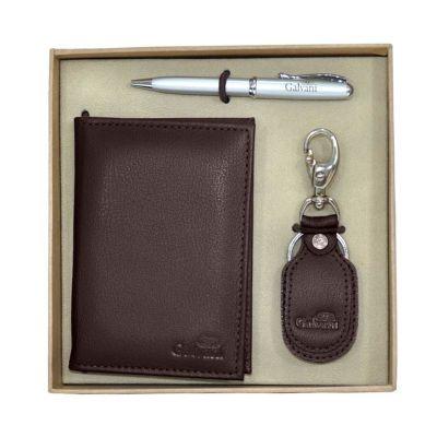 Galvani - Kit com porta documento, chaveiro e embalagem caixa kraft com elástico.