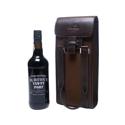 Galvani - Porta vinho único com bolso interno, fechamento c/ botão de ímã, todo pespontado, tam. aprox.  33,0 x 15,0 x8,0 cm