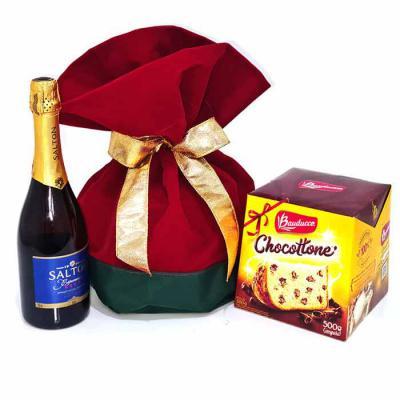 Brand Brindes Produtos Personalizados - Kit de Natal com Chocottone 500 gramas e Espumante Salton 750ml  Contém:  1 Panettone ou Chocottone 500 gramas  1 Espumante Salton 750ml Brut  1 Embal...
