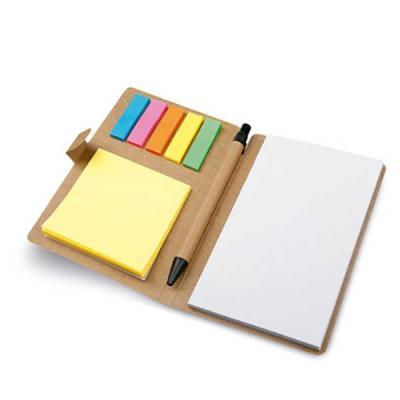 Brand Brindes Produtos Personalizados - Bloco de anotações modelo caderno. papel Cartão. 6 conjuntos: 25 folhas cada. Incluso caderno com 50 folhas não pautadas e esferográfica em papel kraf...