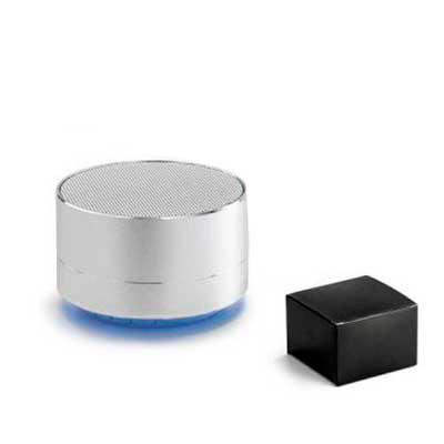 Brand Brindes Produtos Personalizados - Caixa de som com microfone. Alumínio.  Com transmissão por bluetooth e leitor de cartões TF.  Com 3W/4O. Autonomia até 5 h.  Função para atender chama...