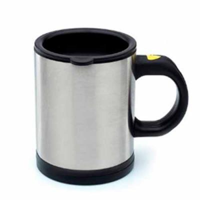 Brand Brindes Produtos Personalizados - Caneca mixer 400ml em inox, possui detalhes preto em plástico resistente (inclusive a parte interna).Tampa rosqueável com uma abertura para poder inge...