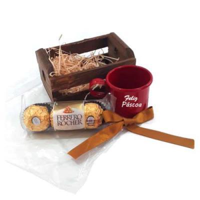 Brand Brindes Produtos Personalizados - Kit Chocolate no Mini Caixote