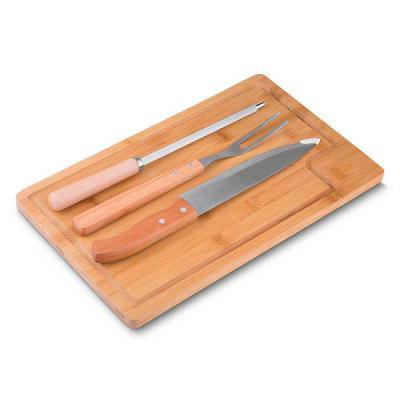 Brand Brindes Produtos Personalizados - Kit churrasco com 4 peças O kit contem: Garfo, faca 8', chaira e tábua de bambu.