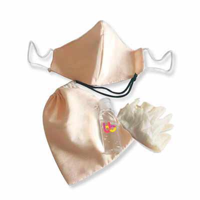 Brand Brindes Produtos Personalizados - Kit máscara reutilizável 100% algodão com álcool em gel e luvas  Contém: 1 álcool gel 70% higienizador 35ml 1 máscara 100% algodão 1 par de luvas Laté...