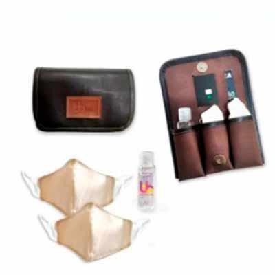 Brand Brindes Produtos Personalizados - Kit Carteira Sintético Barcelona com 3 Divisórias para 2 Máscaras e Álcool em Gel 35 ml  Contém:  2 máscaras em 100% algodão  1 álcool em gel higieniz...