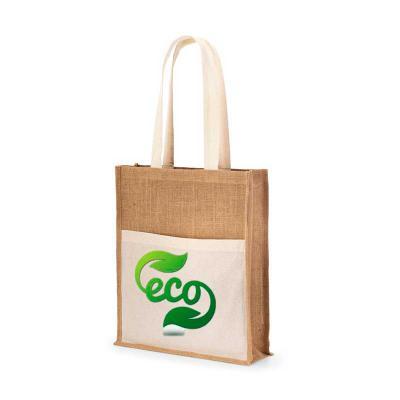 Brand Brindes Produtos Personalizados - Sacola Juta: 240 g/m². Bolso frontal 100% algodão: 140 g/m². Alças de 65 cm. 370 x 410 x 100 mm | Bolso: 370 x 270 mm