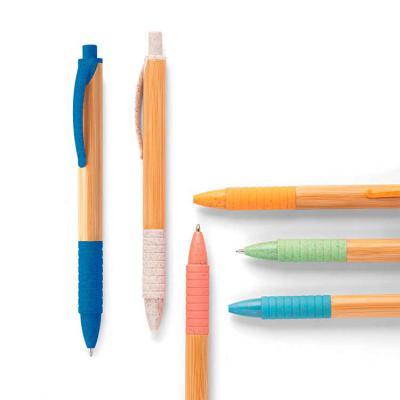 Harmoniza Brindes - Esferográfica. Bambu. 1,5 km de escrita. Elementos em fibra de trigo e ABS. ø11x142 mm