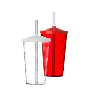 Harmoniza Brindes - Copo de acrílico 550ml com canudo. Copo colorido com detalhe espiral e canudo plástico biodegradável.  Medidas aproximadas para gravação (CxL):  12 cm...