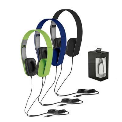 Harmoniza Brindes - Fone de ouvido dobrável. ABS. Ajustável. Cabo de 1,45 m com ligação stereo de 3,5 mm. Fornecido em caixa presente. Dobrados: 100 x 155 x 50 mm   Caixa...