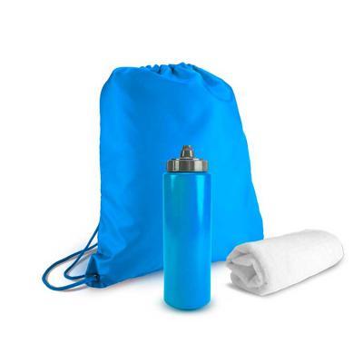 Harmoniza Brindes - Esse kit para academia inclui uma mochila estilo sacola em nylon, uma toalha branca de poliéster e poliamida, além de uma garrafa de água tipo squeeze...