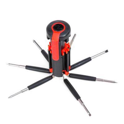 Harmoniza Brindes - Kit ferramenta retrátil com 7 chaves e lanterna de 6 Leds. Material plástico, possui 3 chaves Philips; 3 chaves de fenda; chave de ponta dupla sendo u...