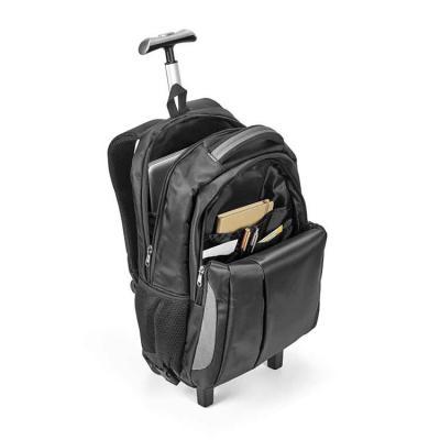 Harmoniza Brindes - Mochila trolley para notebook. Nylon 999. Material à prova de água. Com 2 rodas. Compartimento principal almofadado para notebook até 17''. Segundo co...