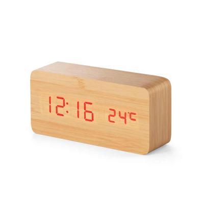 Harmoniza Brindes - Relógio. MDF. Com calendário, alarme e termómetro. Incluso 4 pilhas AAA, 1 pilha CR2032 e cabo USB. Incluso caixa presente. 150 x 70 x 44 mm   Caixa:...