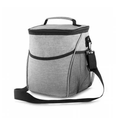 Harmoniza Brindes - Bolsa térmica - capacidade 12 litros, tecido nylon poliéster (cinza), bolso frontal, dois bolsos laterais, alça de ombro ajustável, alça de mão, parte...
