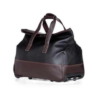 Atlas Brindes - Bolsa de viagem com rodinhas. Confeccionado em poliuretano de alta qualidade, possui alças para mãos com suporte de botão para uni-las, fivela superio...