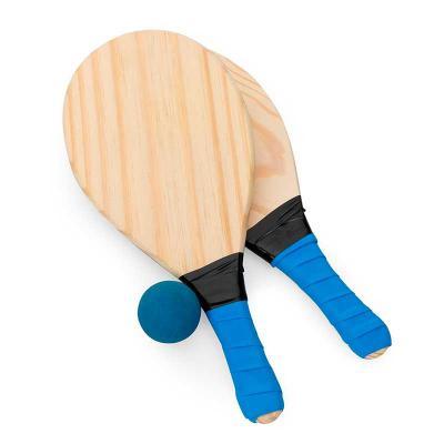 Atlas Brindes - Kit frescobol com embalagem de malha plástica. Contém 2 raquetes de madeira com pegador de revestimento EVA e bolinha emborrachada com certificação do...