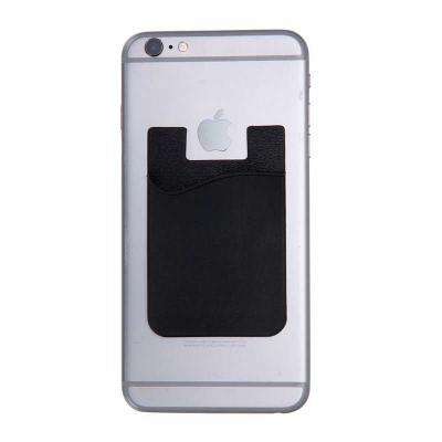 Envolve Promocional - Adesivo porta cartão para celular na cor preta.