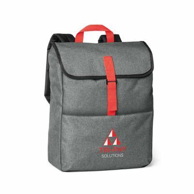 Envolve Promocional - Mochila para notebook na cor cinza com detalhes na cor vermelha.