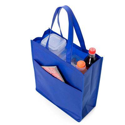 Envolve Promocional - Sacola TNT com bolso na cor azul.