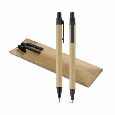 Envolve Promocional - Kit caneta e lapiseira de papel kraft.