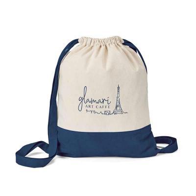 Envolve Promocional - Sacola tipo mochila na cor azul.