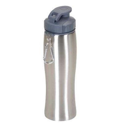 Agiliza Brindes - Squeeze inox 750ml com tampa plástica rosqueável e abertura superior, acompanha mosquetão. Tem a parte inferior emborrachada.  Tamanho total aproximad...