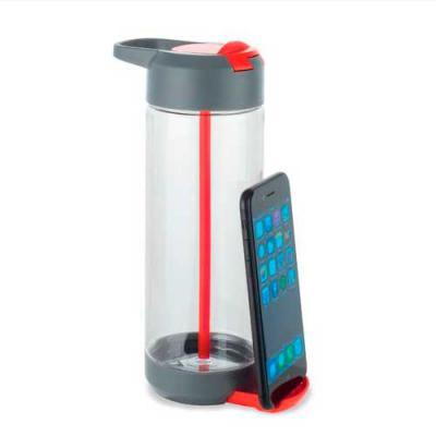 Agiliza Brindes - Squeeze com suporte para celular. Capacidade de 750ml. Produzido em Trintan.  Tamanho total aproximado: ø75 x 222 mm