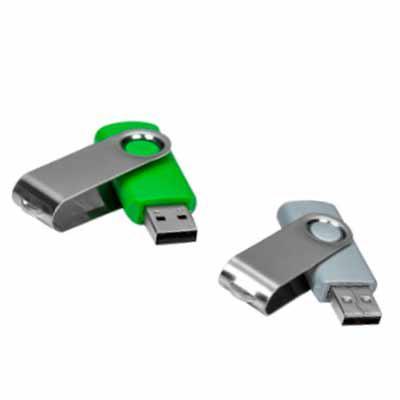 LV Brindes - Pen Drive Giratório Metálico 4GB/8GB/16GB/32GB