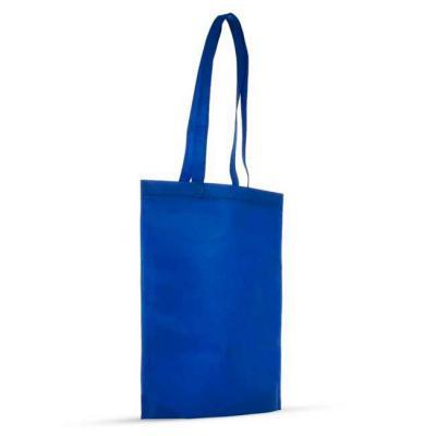 LV Brindes - Sacola colorida com alça em material TNT, possui símbolo ecológico/reciclável na costura da alça