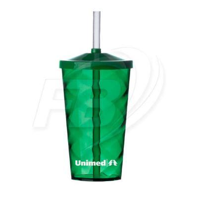 Fábrica de Brinde - Copo Acrílico Com Canudo FB13380 - Copo Verde